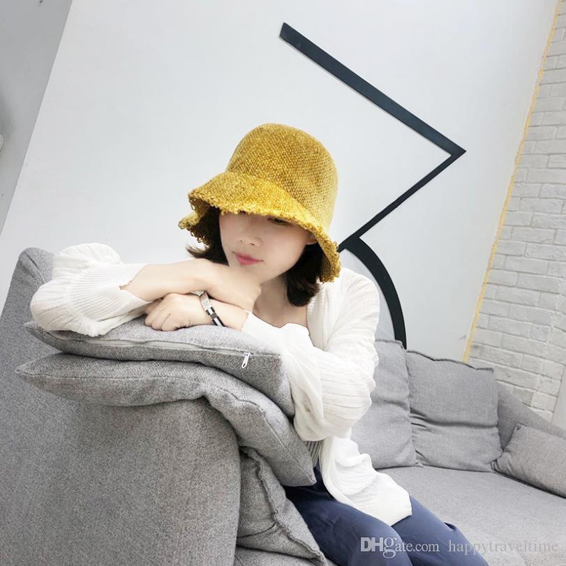 Women Chenille Bucket Hat Fishman Style Winter Travel Crushable Foldable Cap Hut Chapeau Sombrero Cappello