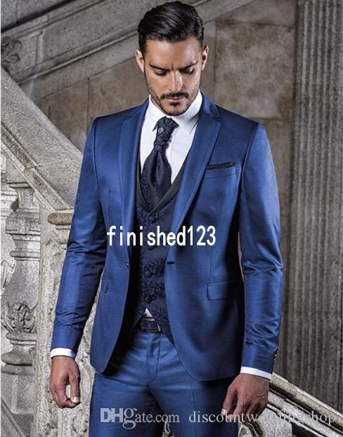Moda Noivo Smoking Um Botão Azul Notch Lapela Padrinhos de Casamento Dos Homens Ternos Do Partido Blazer (Jacket + Pants + colete + Gravata) J743