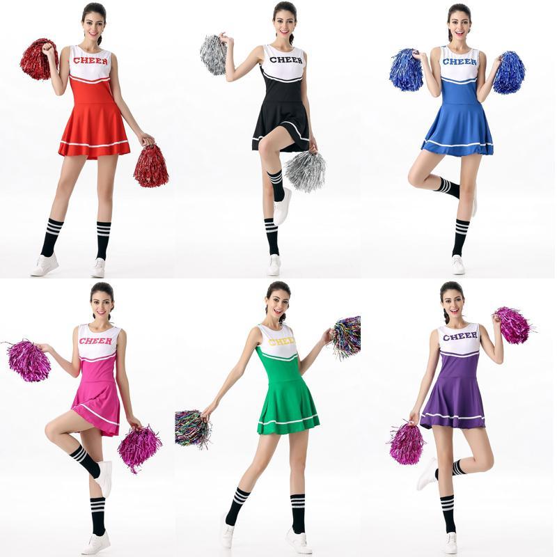 Women School Girl Uniform Cosplay Costume Musical Cheerleader Fancy Dress Outfit