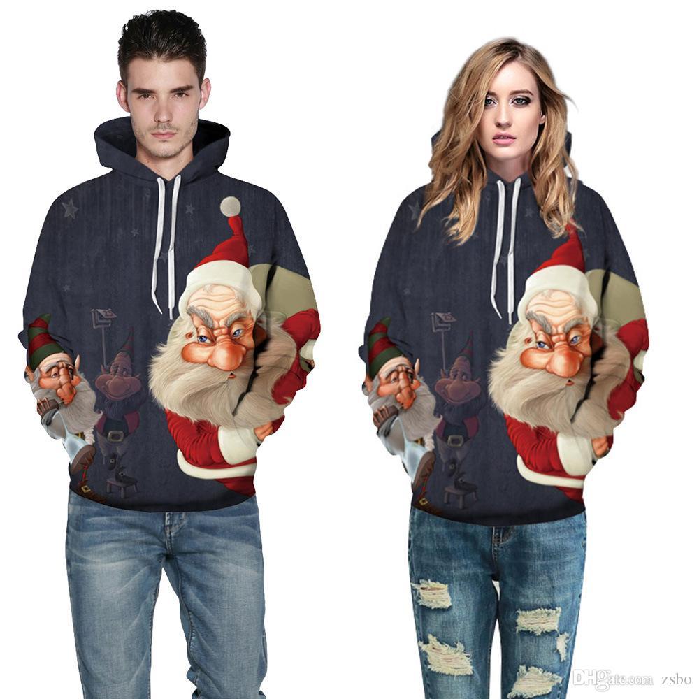 المتناثرة سانتا كلوز 3d الطباعة الرقمية الشارع الشهير البلوز تنفس الرجال النساء البلوز هوديس زائد حجم سترة عيد الميلاد SD06