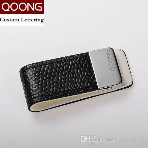 Qoong الرجال النساء جلد محفظة المال كليب محفظة سليم حامل المال الآمن بيل كليب المشبك للمال بطاقات الائتمان ML1-046