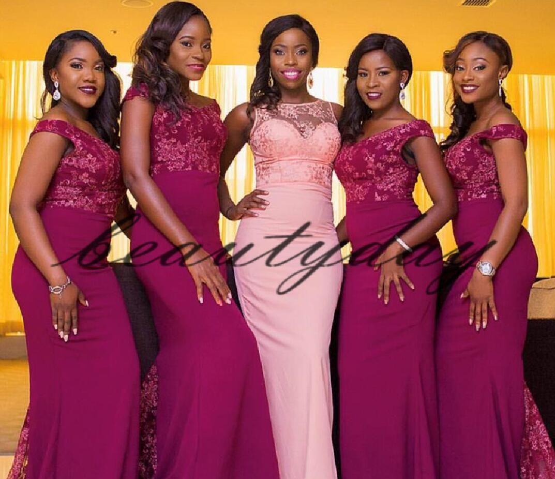 레이스 들러리 드레스 2019 새로운 아프리카 혼합 스타일 나이지리아 녀의 명예 가운 공식적인 웨딩 파티 게스트 드레스