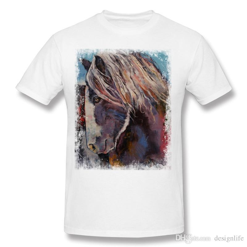 2017 Homme 100% Coton T-Shirt HIGHLAND PONY Homme Crewneck T-Shirt à Manches Courtes Gris Grand Famille T-Shirt