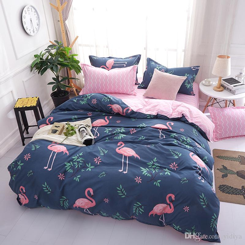 New Arrival Ins Style Cartoon Pink Flamingo Bedding Sets 3/4pcs Geometric Pattern Bed Linings Duvet Cover Bed Sheet Pillowcases Cover Set