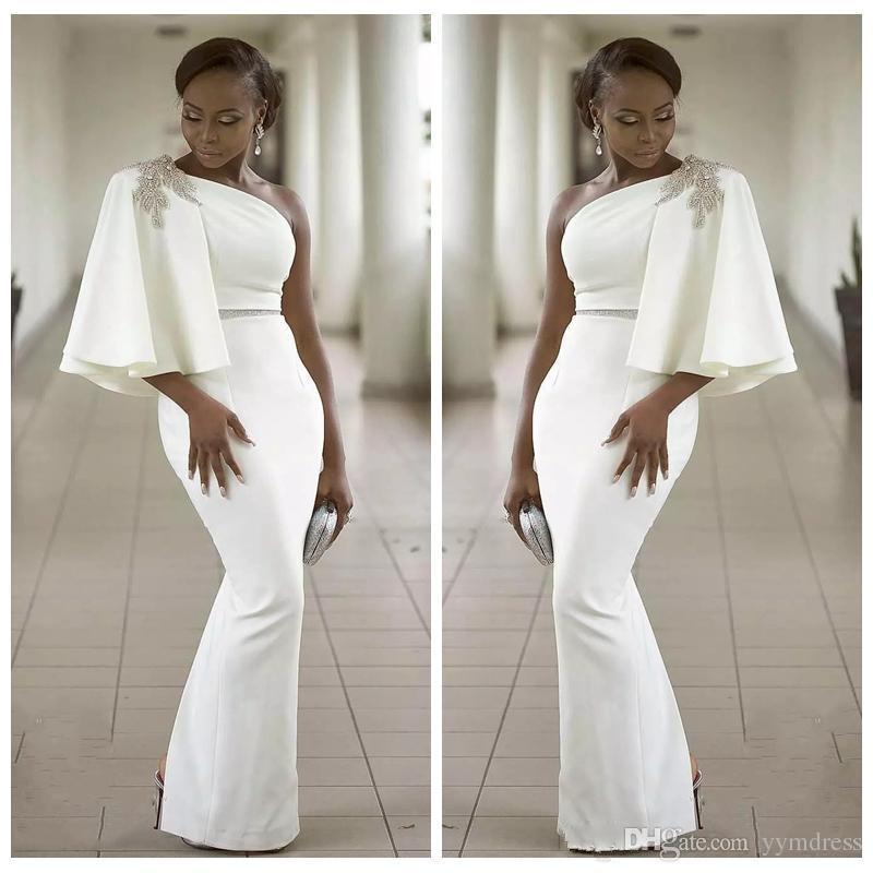 Evening Dresses Wear White One Shoulder Half Sleeves Mermaid Formal Beading African Dubai Women 2019 Long Sheath Prom Robe De Soiree Gown