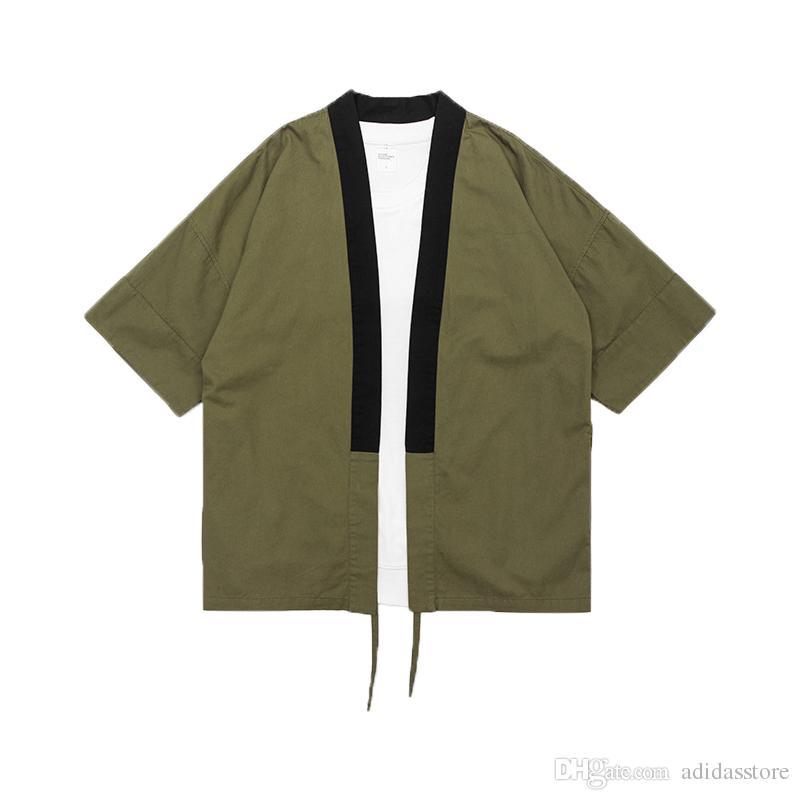 2018 Color sólido ArmyGreen Kimono Chaqueta Camisas para hombre Robe Camisa de algodón Tendencias de personalidad Estilo callejero japonés