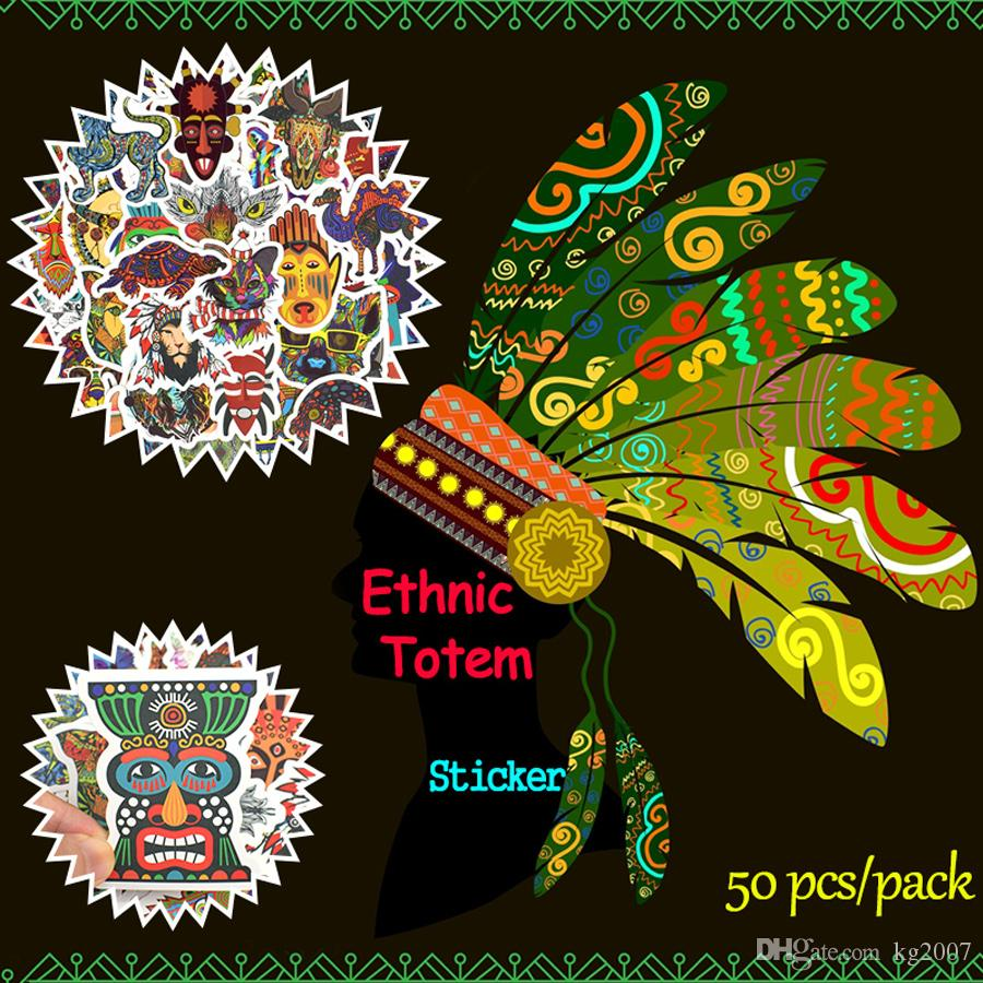 50 PCS Waterproof Ethnic Totem Stickers Doodle Animal Decals Poster Wall Stickers for Kids DIY Room Home Laptop Skateboard Luggage Motorcycl