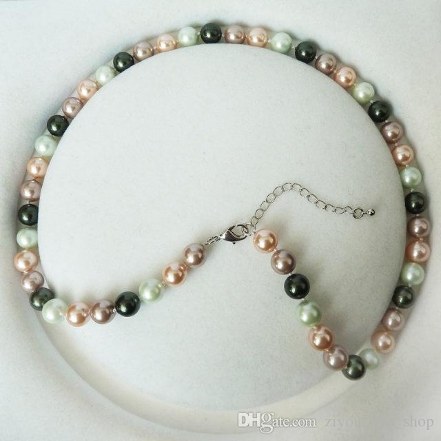 Najlepiej sprzedający się dłoń wiązana uroczy 8mm Multicolor Sea Shell Naszyjnik Moda Biżuteria 4 pc / Lot