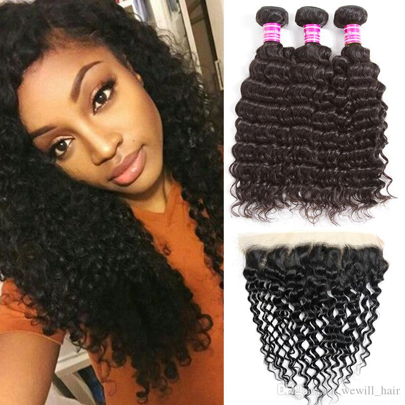 8a Malaysian Virgin Human Hair Bundles with Laced Closure Deep Wave Braiding Hair Ponytails Cheap Hair Extensions wholesale Frontal Weaves