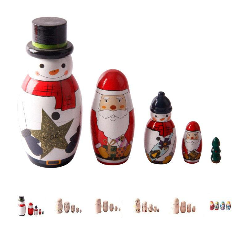 Russian Nesting Dolls Hand Painted Matryoshka 5 Layer Panda Doll Wooden Educational Toys Tourist Attractions Selling Souvenirs Gift