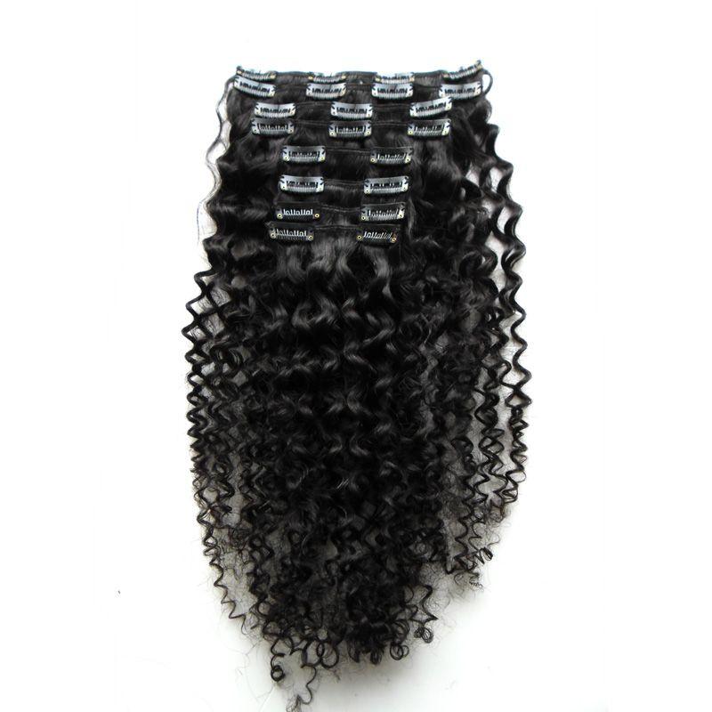 Brasileiro Natural Do Cabelo Humano Dolag 8 Peças / set 100 Gram Kinky Curly Clipe Em Extensões Do Cabelo Humano 100% Grampo de Cabelo Natural Ins