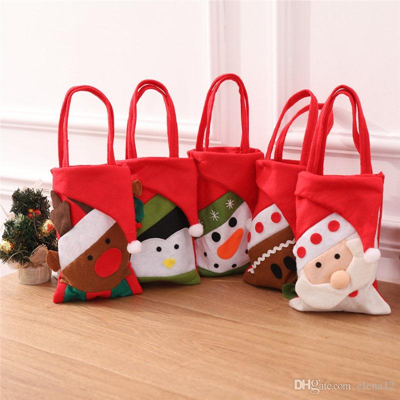 New Cartoon Christmas Candy Sweet Treat Bag Nonwoven Santa Snowman Hand Bags Gift Bags Christmas Decorations Drop Ship
