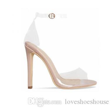 Orange Yellow Clear PVC Stiletto Heels Women Sandals Ankle Buckle Strap Women Pumps Peep Toe Cut-Outs High Heels Shoes