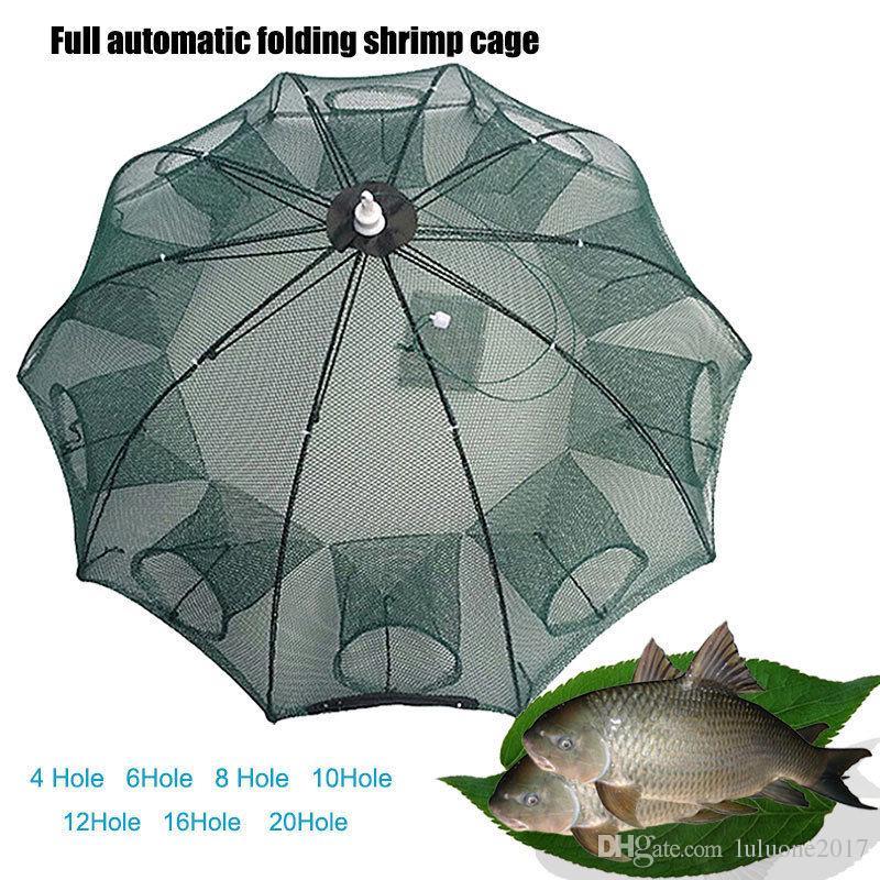 4/6/8/10/12/16/20 Holes Automatic Fishing Bait Net Trap Cast Dip Cage Crab Fish Minnow Shrimp Pond Foldable Easy catch net