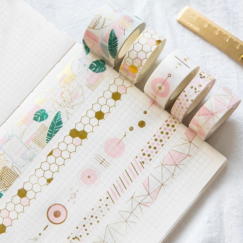 Set di nastri Washi in lamina d'oro rosa fresco Fai da te Decorativo Scrapbooking Sticker Planner Adesivo in nastro adesivo Etichetta Drop Shipping 2016