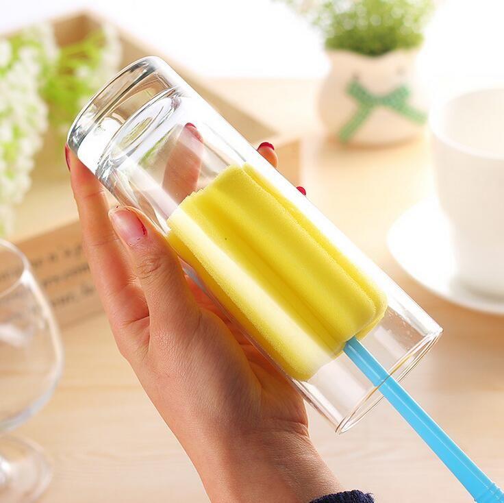 2PC Küchenschwamm Reinigungs lange Reinigungsmittel Bürsten cup Dekontaminationsflaschenbürste Tasse