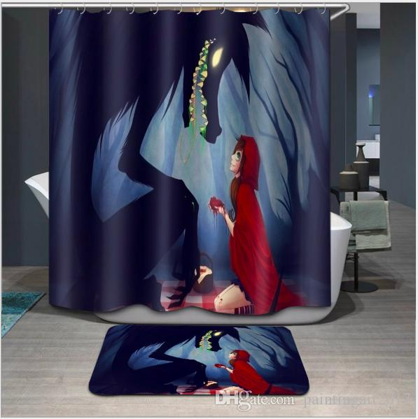 Bathroom Shower Curtains girl and wolf Large Size Eco-friendly Waterproof Fabric Shower Curtain Floor Mat Sets