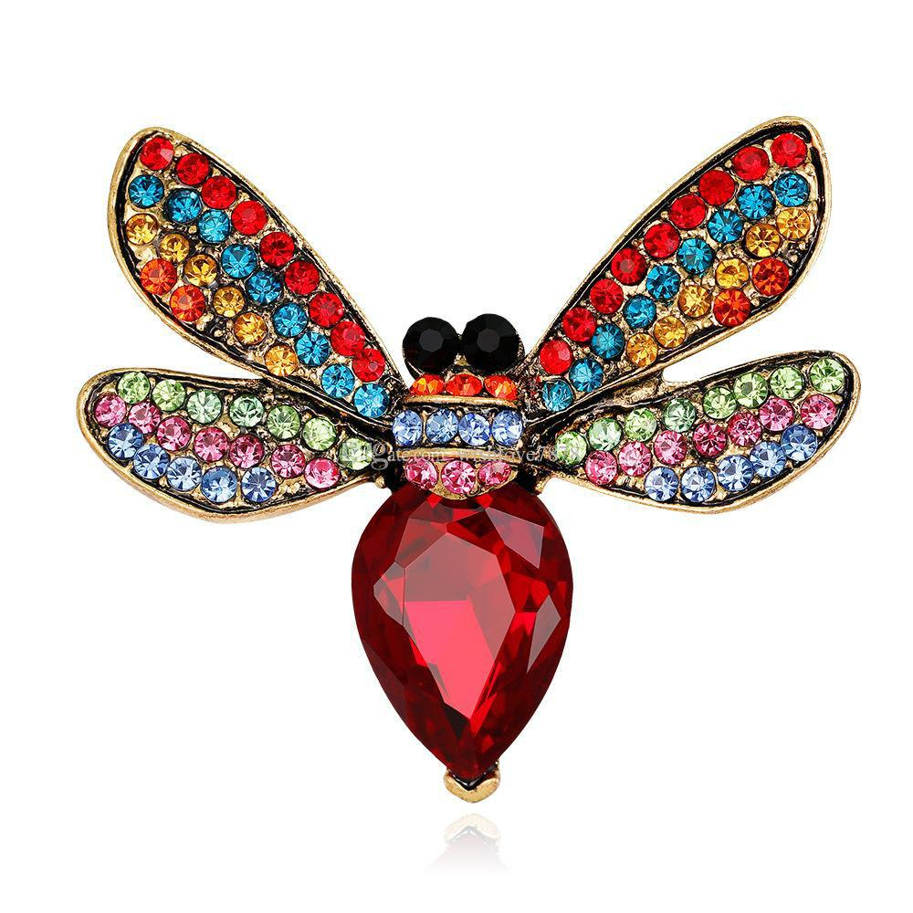 2 Cores Rhinestone Bee Pin Broche Broches Emblema De Metal Esmalte Pin Broche Mulheres Jóias de Luxo Decoração Do Partido