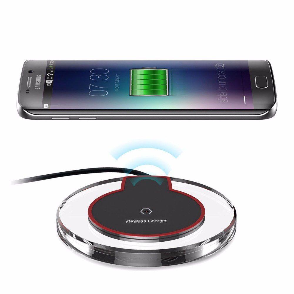 شاحن شحن لاسلكي فائق النحافة QI لشحن سريع لهاتف Samsung Galaxy S7 S6 Edge Plus Note 5 LG G2 G3 HTC