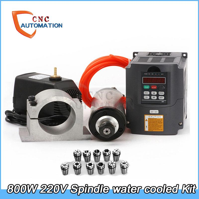 Water Cooled Spindle Kit 800W CNC Milling Spindle Motor + 1.5KW VFD + 65mm clamp + water pump/pipe +13pcs ER11 for CNC