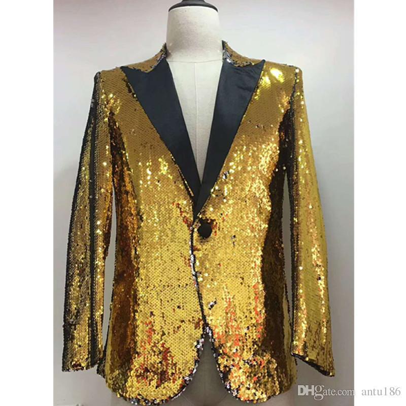 Erkek sequins trendy takım iki parçalı takım (ceket + pantolon) erkek iş elbise düğün damat groomsmen elbise destek özel