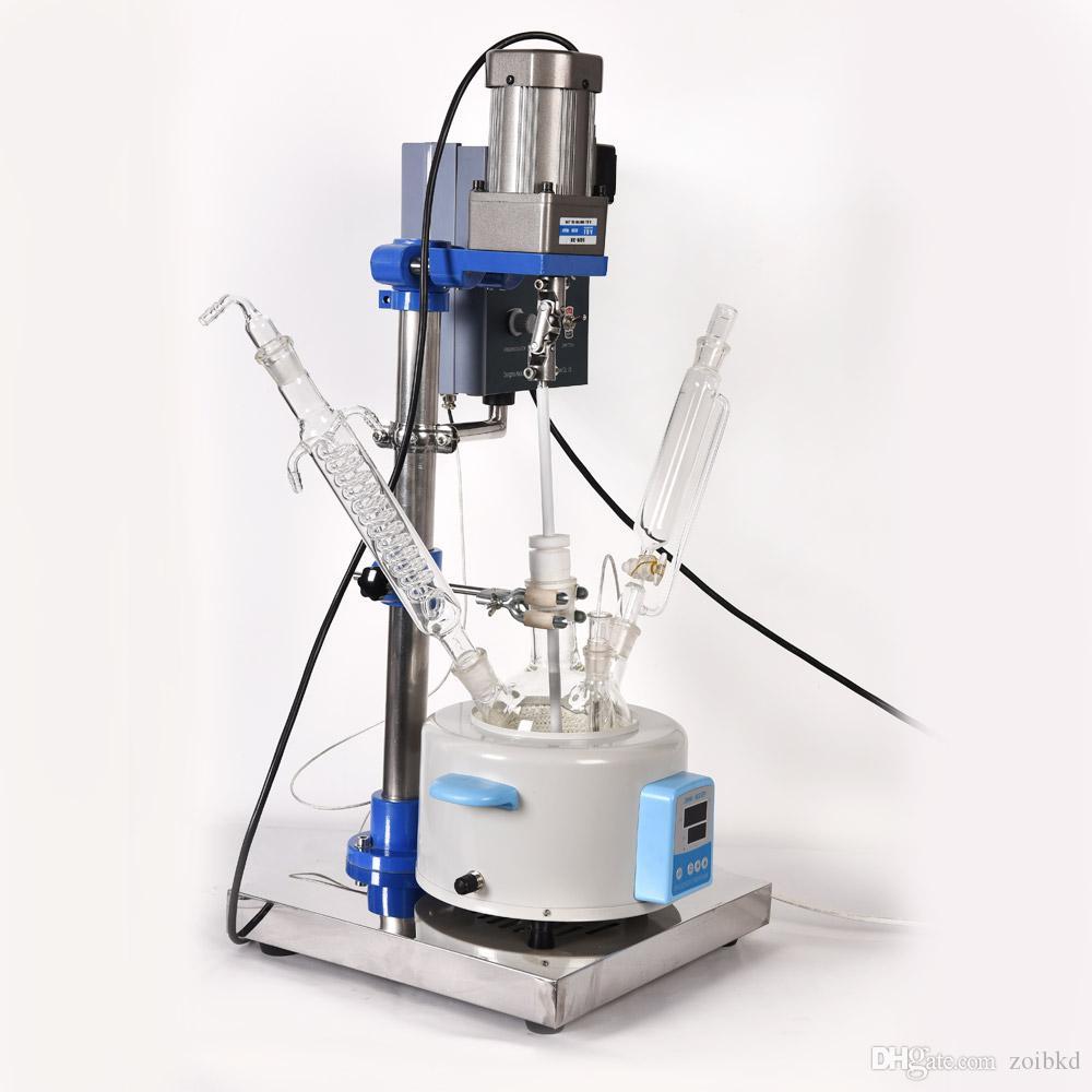 Lab 1L Reactor de vidrio para una variedad de operaciones de proceso Disolución de sólidos Producto tipo de piso Instrumento de laboratorio de acero inoxidable