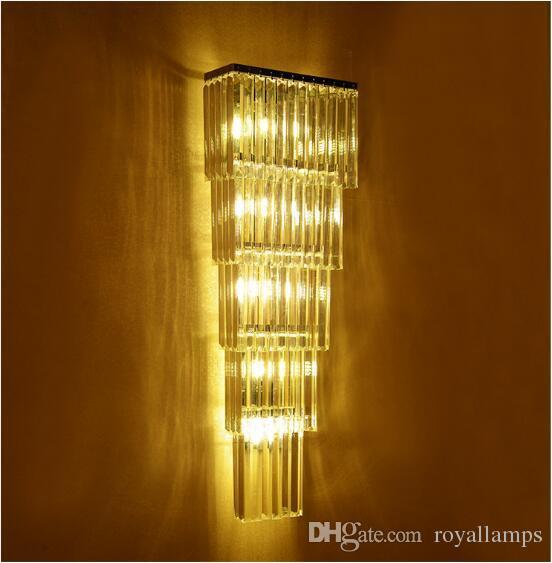 svitz Moderno 60-120cm lungo cristallo lampada da parete per Hotel Lobby Villa Foyer progetto Penthouse Floor grande cristallo Illuminazione Led Apparecchio