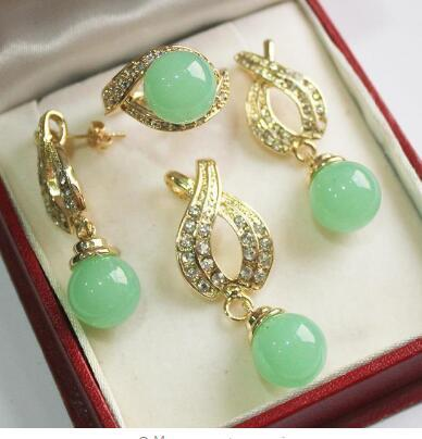 Free Shipping Hot! beautiful new jewelry 18KGP + 12mm light green jades pendant, earring, , ring set