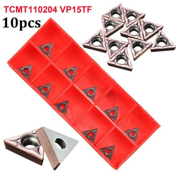 10pcs TCMT110204 VP15TF / TCMT21.51 VP15TF Carbide Inserts Lathe Turning Tool Holder Inserts