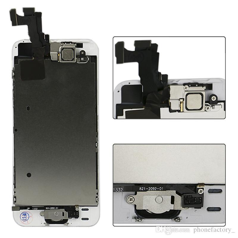 أفضل جودة ++++ آيفون 5 5C 5S LCD تعمل باللمس استبدال محول الأرقام الشاشة مجموعة كاملة التجمع أبيض أسود كاميرا أمامية + زر الصفحة الرئيسية + أداة
