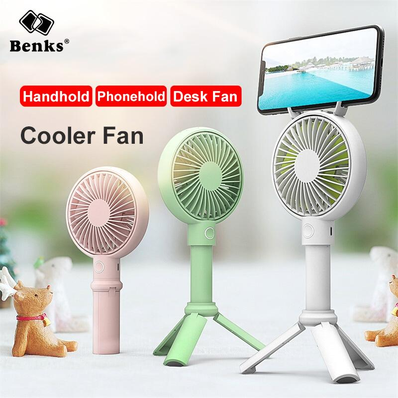 Color : White Air Cooler Handheld Fan USB Rechargeable Cellphone Stand Holder LED Light Cooler Portable 3 Speed Adjustable Desktop Cooling Fan