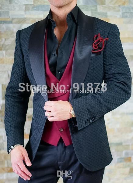 Высокое качество одна кнопка черный жених смокинги Шаль нагрудные groomsmen мужская свадебные ужин Пром костюмы (куртка+брюки+жилет+галстук) нет:1473