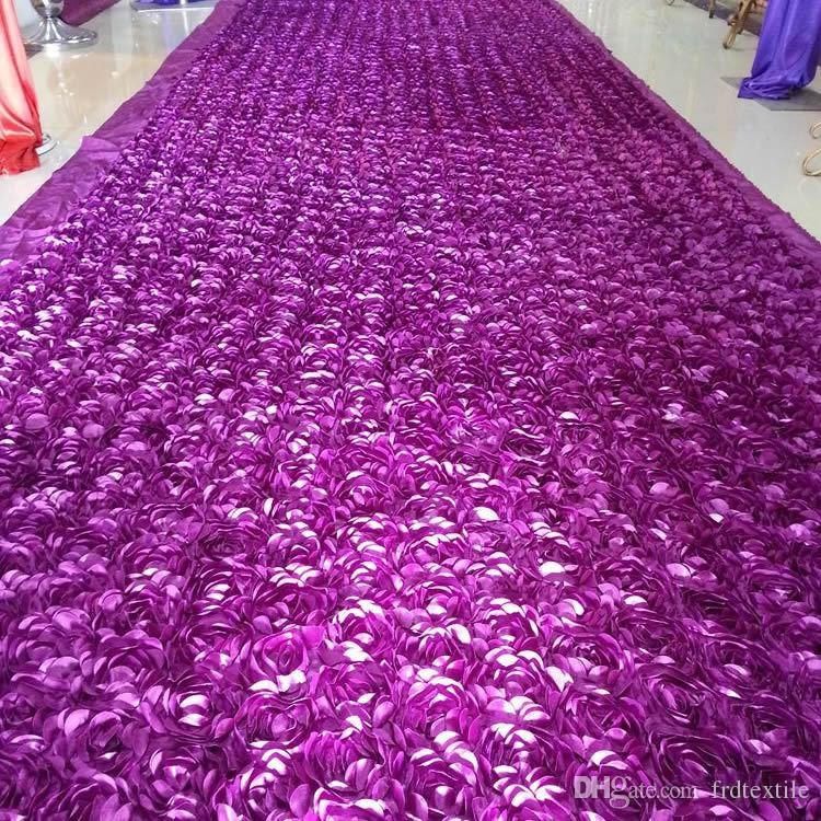 3D rose wed carpet aisle runner also as wedding backdrop reception desk decoration in white purple blue fuchsia
