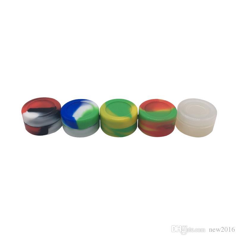 10 pçs / lote Recipiente de Óleo de Cera de Forma Redonda de 5 ml Não-stick Empilhável Concentrado de Silicone Recipiente Jar Com Várias Cores