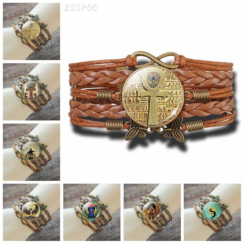 Egyptian Bracelet Vintage Ancient Egypt Anubis Scarab Goddess Retro Brown Multilayer Leather Bracelet for Men Women