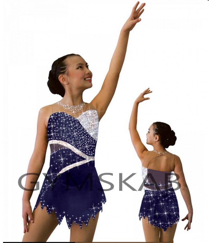 2018 Graceful Figure Skating Dress Girl's Customized Ice Skating Dress Sleeveless Gymnastics Costume 8892-1A