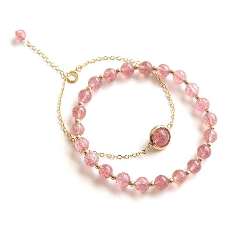 Natural Strawberry Crystal Rose cuarzo pulseras moldeadas para mujeres 2 tipos 925 pulsera de cadena de plata esterlina