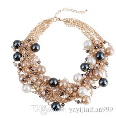 chaming natural south sea Collar de perlas multicapa de color mezclado de señora (20)
