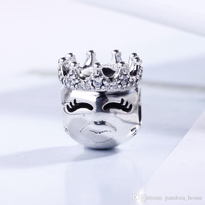 2018 Printemps authentique réel argent 925, plaqué Processus mignon Couronne Charms Perles européenne Fit Pandora Bracelet bricolage Bijoux
