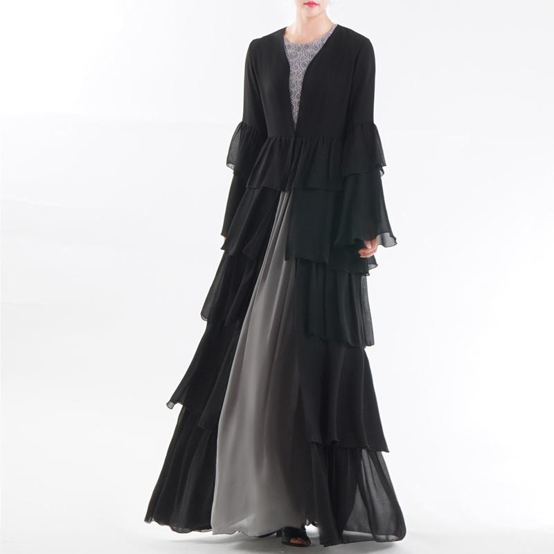 UAE Abaya Dubai Kaftan Malaysia Ruffle Pleated Chiffon Kimono Cardigan Muslim Hijab Dress Women Dubai Turkish Islamic Clothing