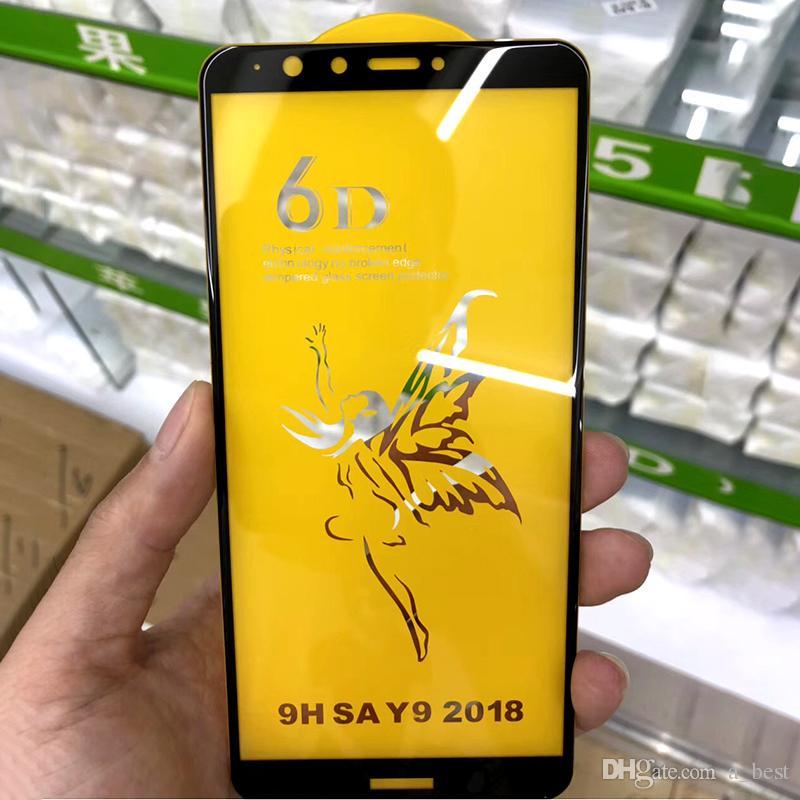 Pellicola di vetro temperato curvo a copertura totale 6D per HuaweiMate 20 Lite P Custodia di rigido gel protettivo a schermo HD 6D per HuaweiHonor 8X 10 Y9 2018
