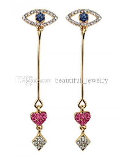 new Korean girl eyes and ears nail lovely full diamond red heart earrings long love tassel earrings fashionable designer earrings