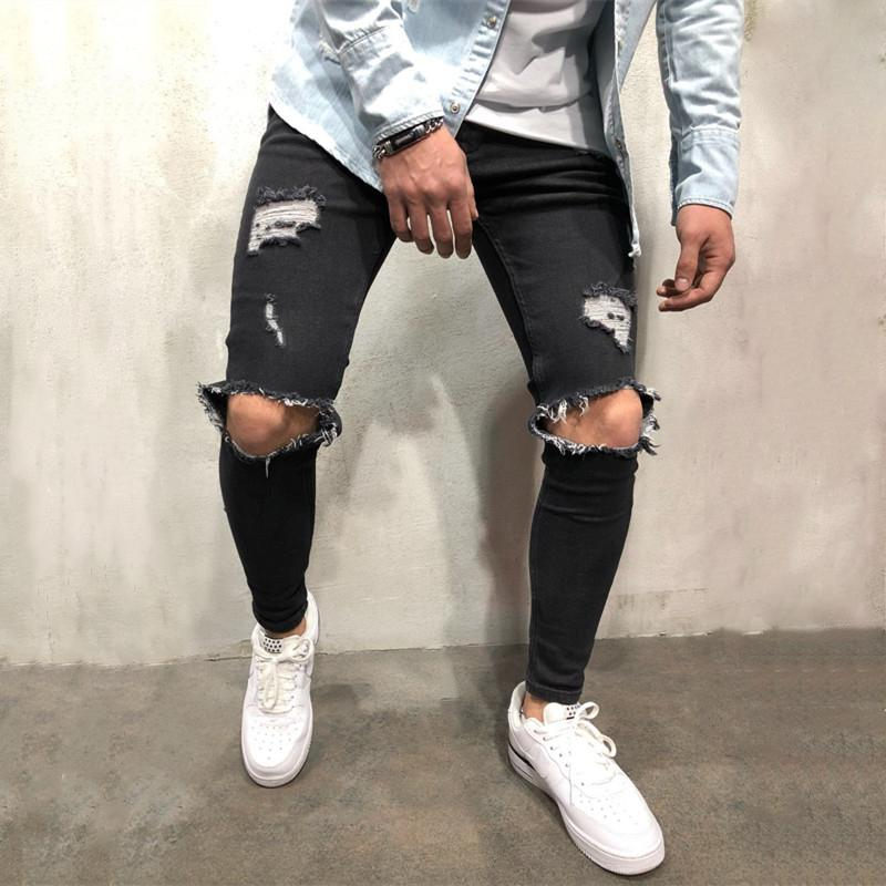 New Men Skinny Knee holes BIG Elasticity black Blue Denim Pants Fashion Male Ripped Streetwear Jeans Trousers