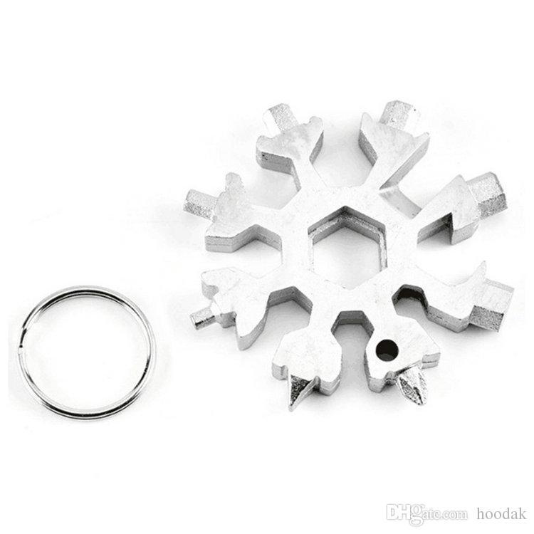 18 In 1 Schneeflocke Schlüsselbundschlüssel Schlüsselring Mehrzweckwerkzeug