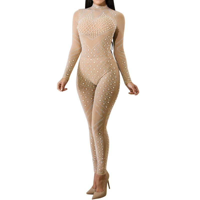 Womens Fall Sheer Mesh Sequins Turtleneck Long Sleeve Bodycon Bodysuit Jumpsuits