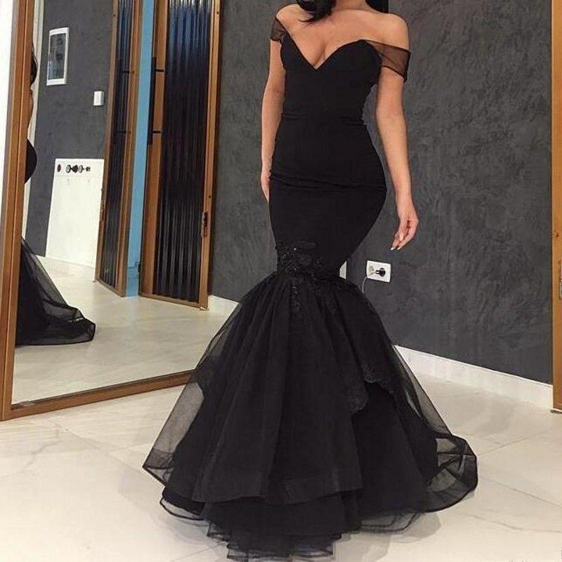 Schwarze Meerjungfrau Prom Kleider Abend Party Wear Off The Shoulder Prom Kleider Bodenlangen Spitze Appliques New Formale Kleider zum Verkauf
