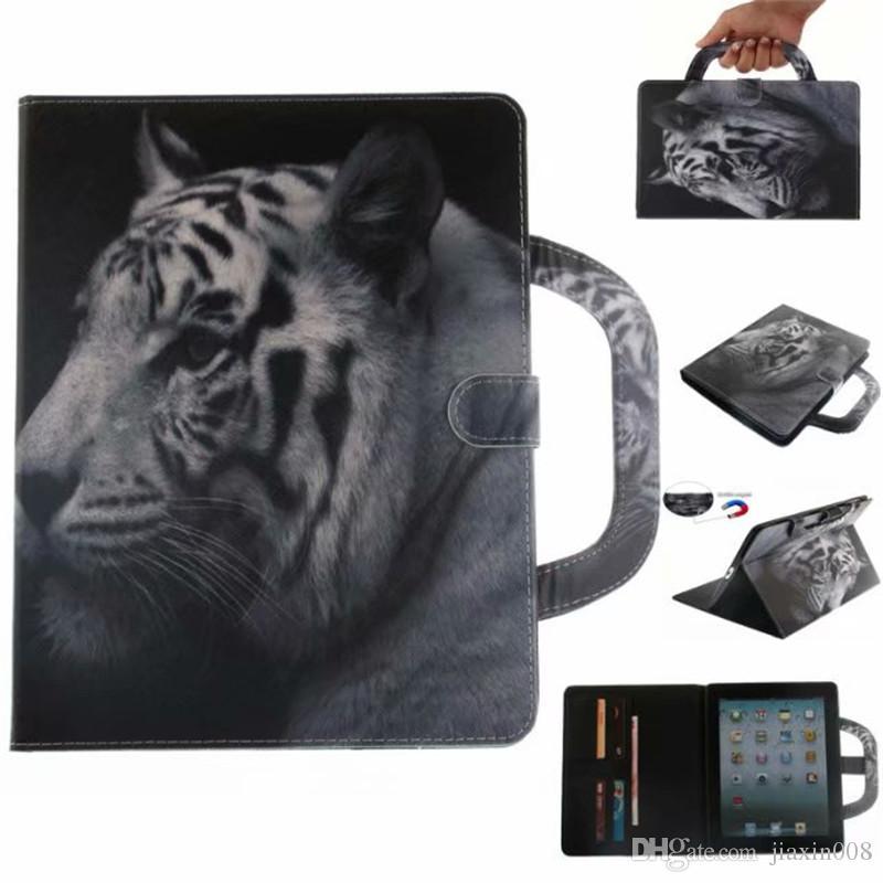 Funda para tableta Coque para Apple iPad 2 3 4 Cubiertas Estuches Mango Cubierta plegable Soporte Bolso billetera de cuero Tarjeta Dibujo color lobo tigre león