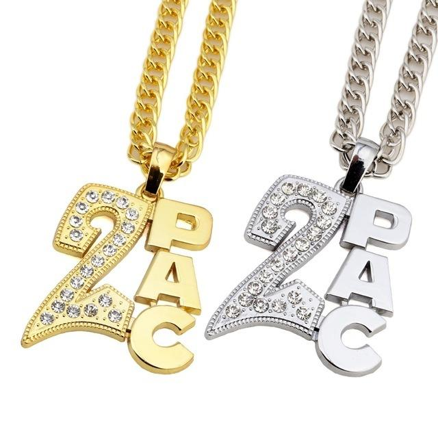 Men Women Golden 2PAC Pendants Bling Christmas Jewelry Gifts Crystal Necklaces Hip Hop Charm Franco 31.5 inch Chains Y1891709