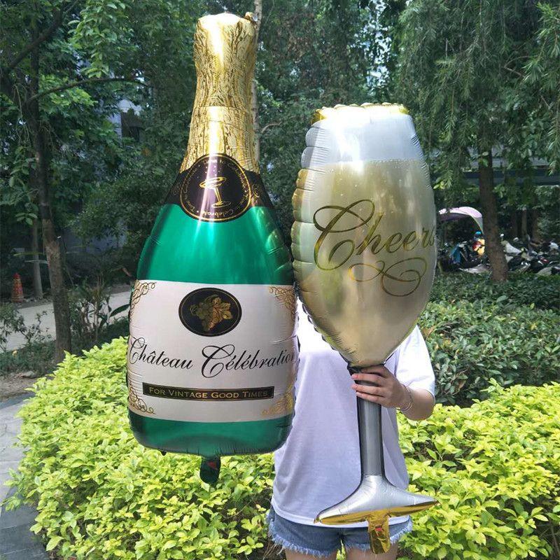 Şampanya Bardak Bira Şişesi Alüminyum Folyo Balonlar Düğün Dekorasyon Balon Doğum Günü Partisi Süslemeleri Çocuklar Bachelorette Party.J