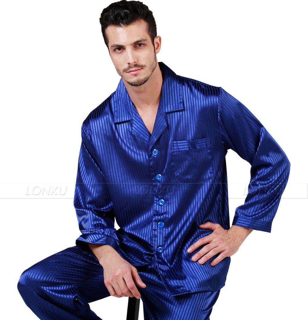 Men/'s Sleepwear Satin Pyjama Set Nightwear Loungewear